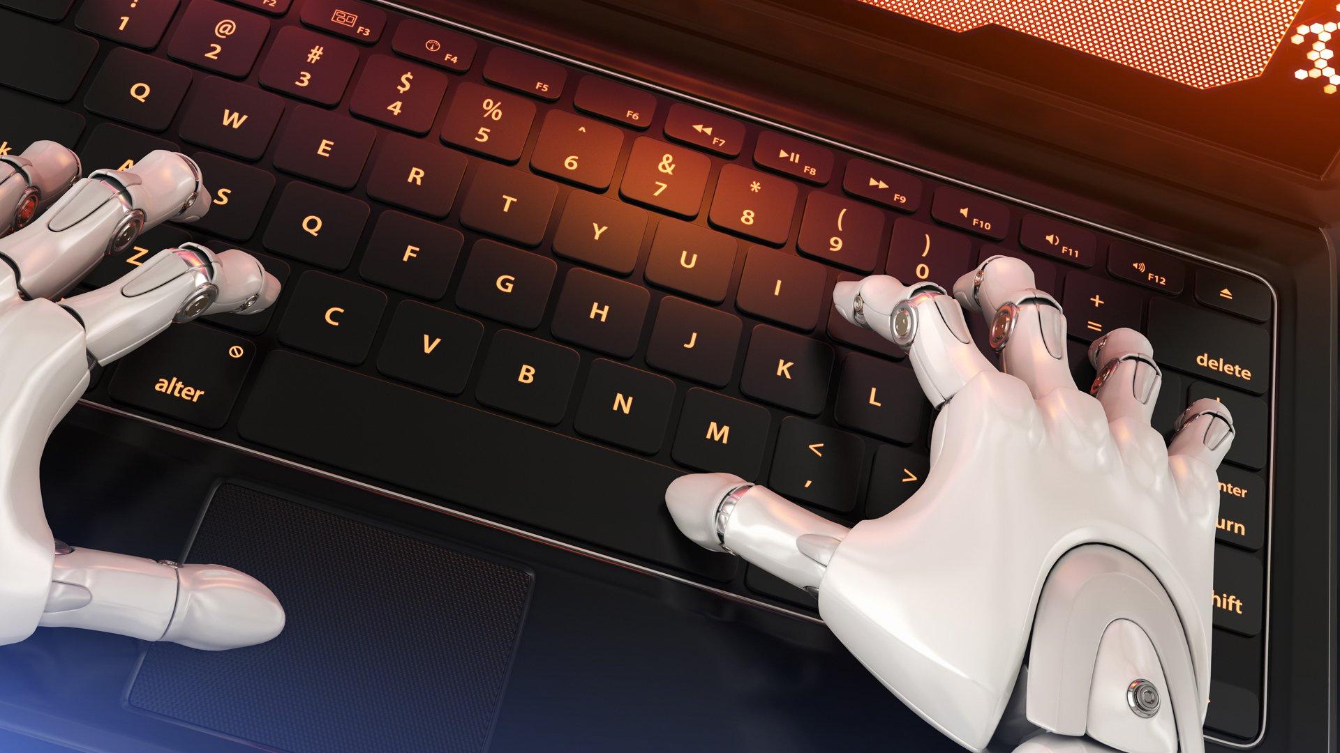 Robot-typing-on-keyboard